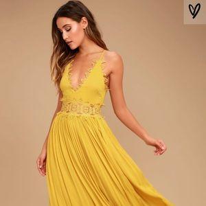 Lulu's This Is Love Mustard Sundress/Prom Dress